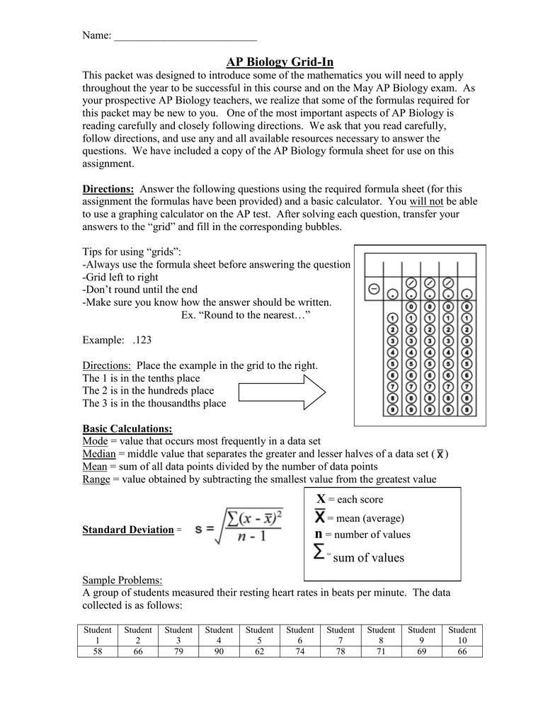 Ap Biology Gridin Hauppauge School District