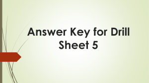Answer Key for Drill Sheet 5