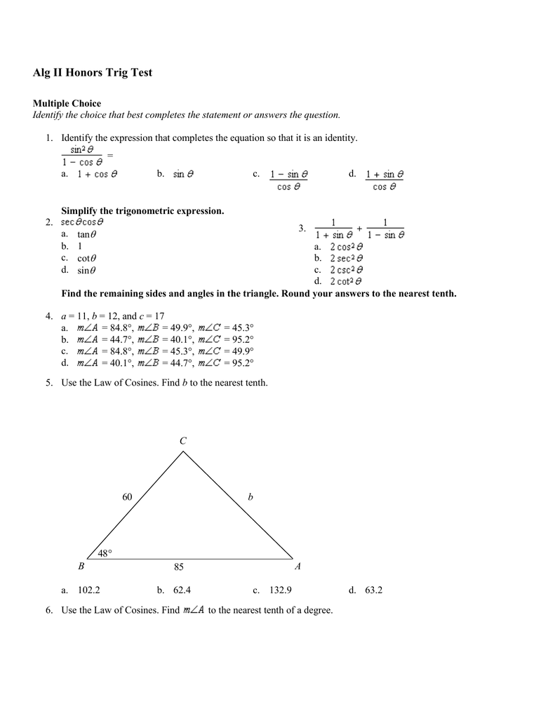 Alg II Honors Trig Test Answer Section