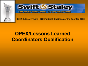 OPEX Coordinator Training and Qualification