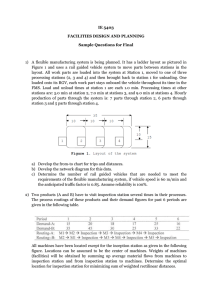 IE 5403 FACILITIES DESIGN AND PLANNING Sample Questions for