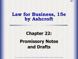 Ch22: Promissory Notes and Drafts