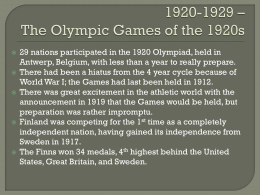 1920-1929 * The Olympic Games of the 1920s