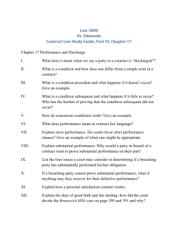 Study Guide, Contract Law Part VI