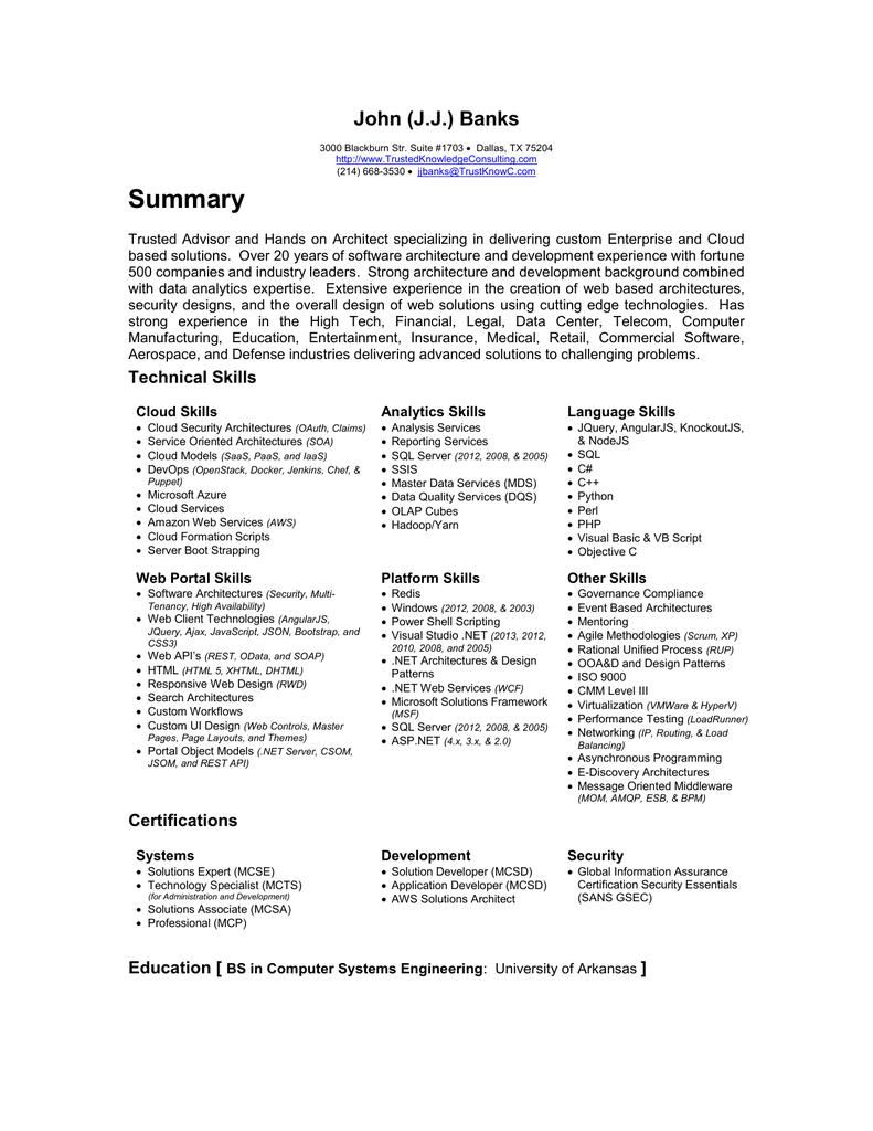 J J 's Resume - Trusted Knowledge Consulting