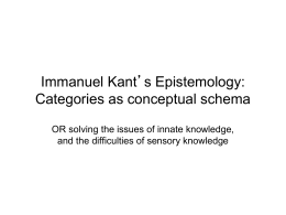 Immanuel Kant's Epistemology - History of Western Philosophy