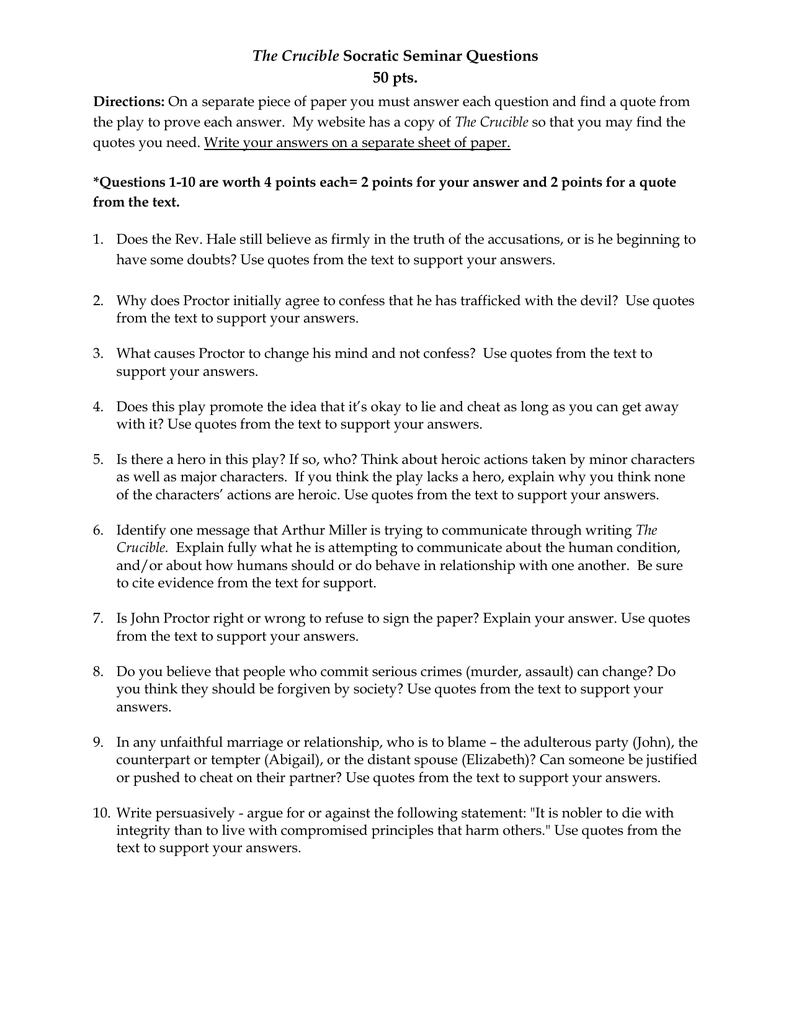 The Crucible Socratic Seminar Questions