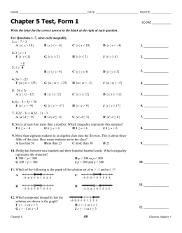 Chapter 5 Test, Form 1
