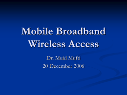Mobile Broadband Wireless Access