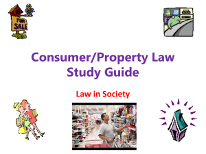 Consumer/Property Law Study Guide