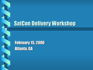 SatCon Delivery Workshop