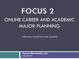 Online Career and Education Planning for College Students