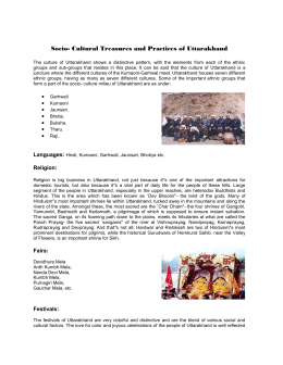 Socio- Cultural Treasures and Practices of Uttarakhand
