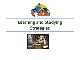 Learning and Studying Strategies.