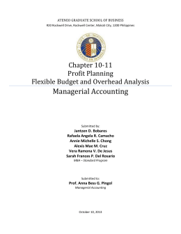 Chapter 10-11 Profit Planning Flexible Budget and Overhead Analysis