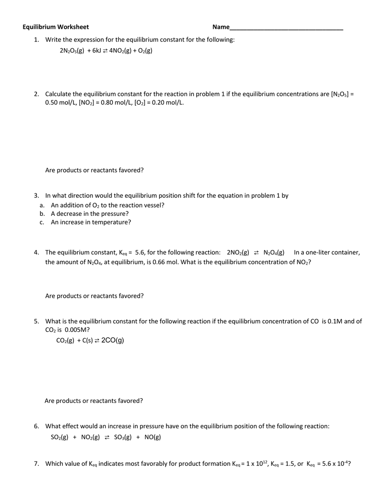 Free Worksheet Equilibrium Worksheet equilibrium worksheet