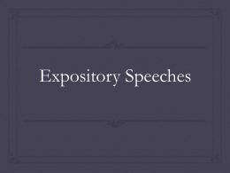 Expository Speeches