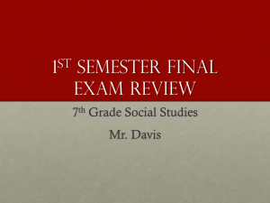 1st Semester Final Exam Review