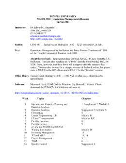 MSOM 3901 syllabus - Temple University