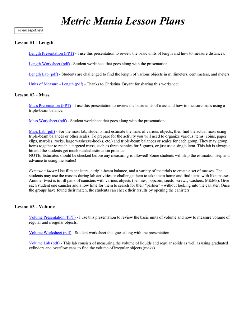 Worksheets Metric Mania Worksheet length presentation ppt