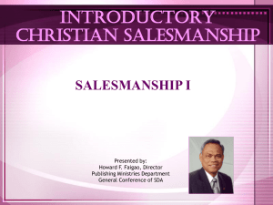 Salesmanship - Family Health Education Service