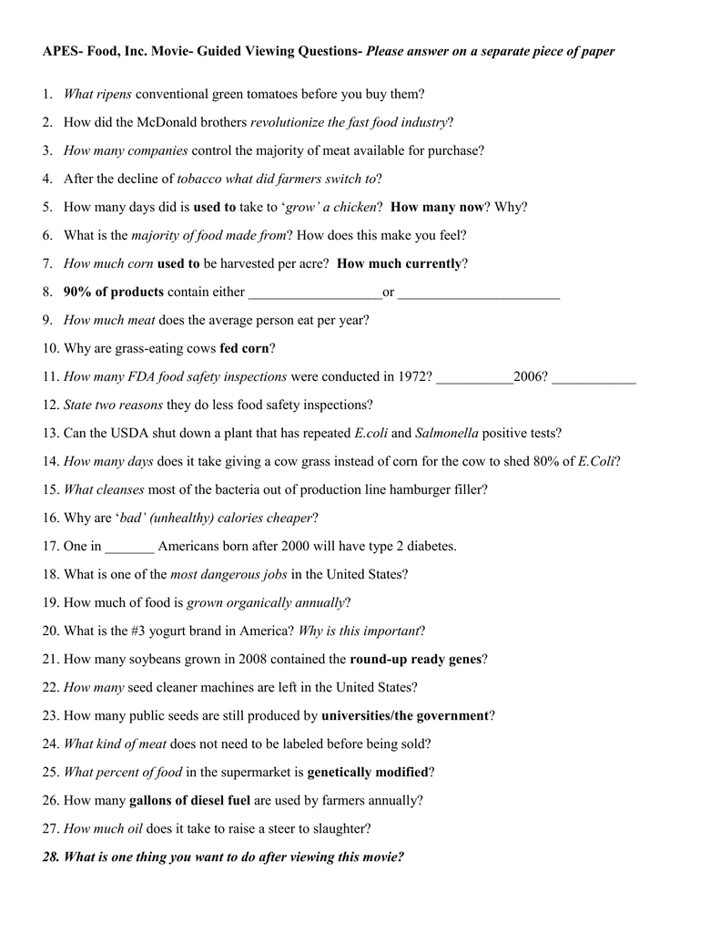 """Food, Inc."""" - Movie Questions For Food Inc Movie Worksheet Answers"""