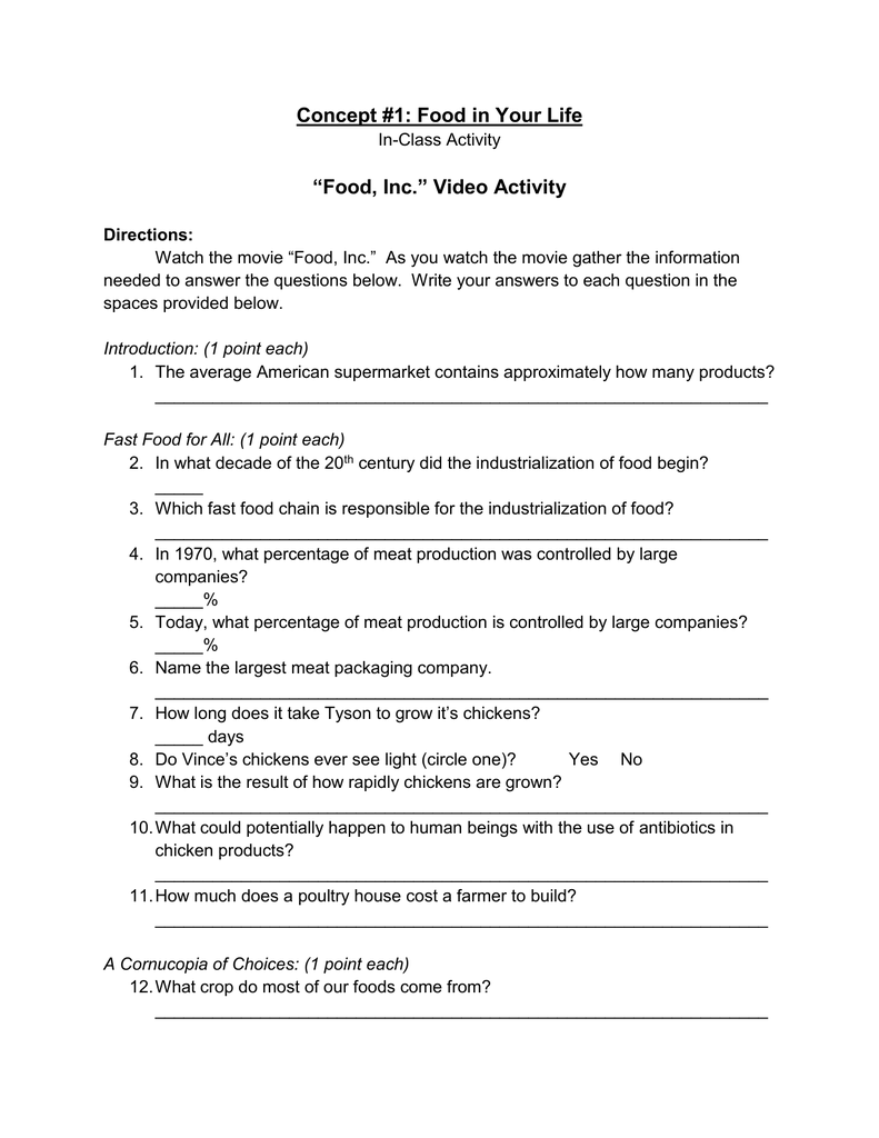"Food Inc "" Video Activity"