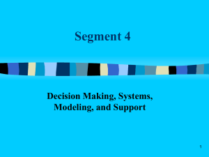 Chapter 2: Decision Making, Systems, Modeling, and Support