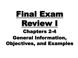 Chapters 2 -4