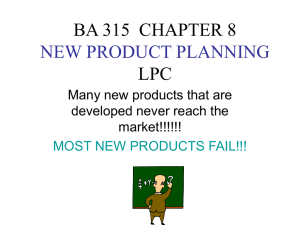 BA 315 CHAPTER 8 NEW PRODUCT PLANNING LPC