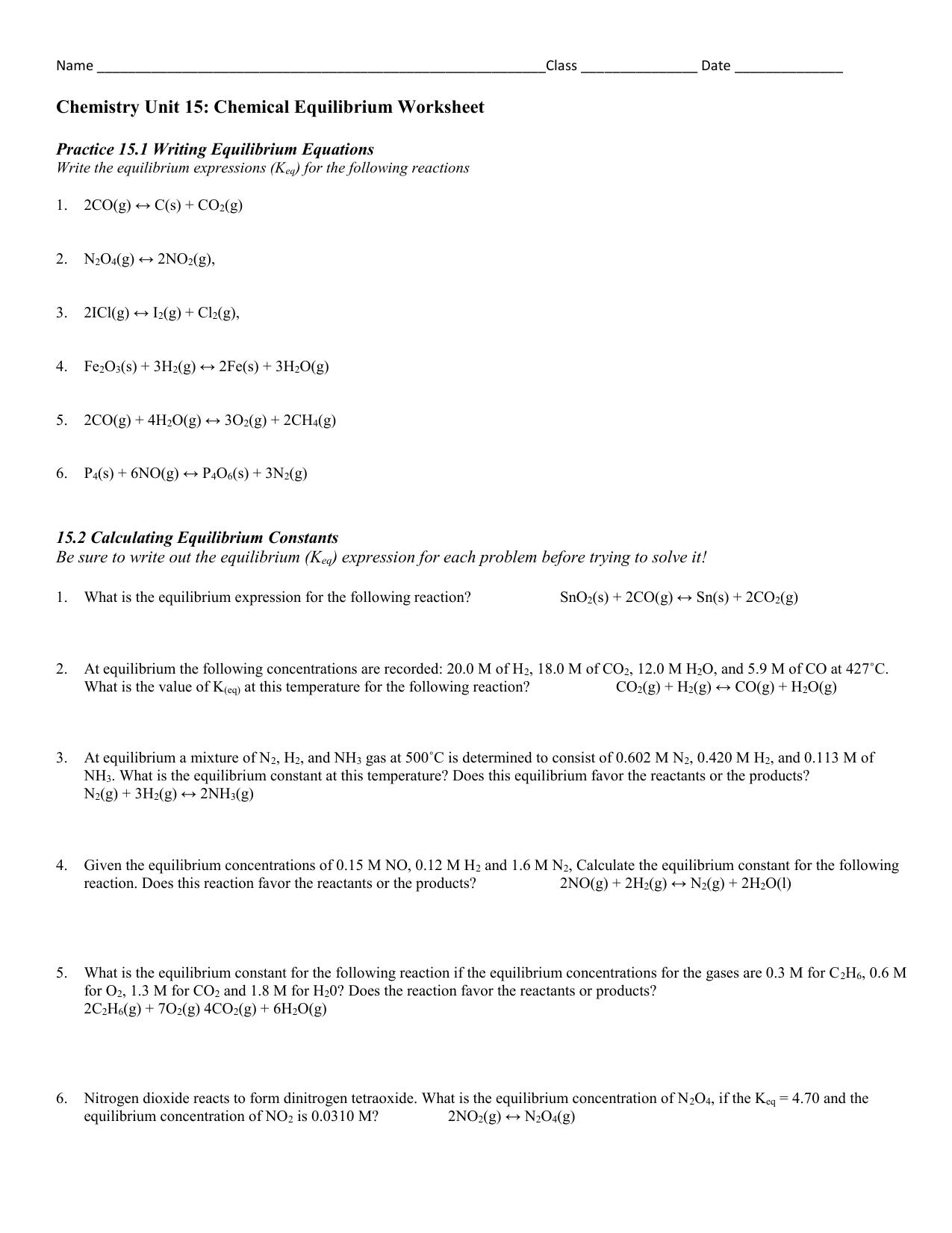 File – Equilibrium Constant Worksheet