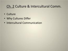Ch. 2 Culture & Intercultural Comm