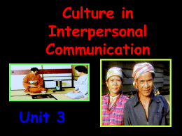 Culture in Interpersonal Communication