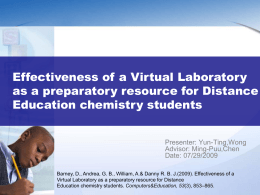 Effectiveness of a Virtual Laboratory as a preparatory resource for