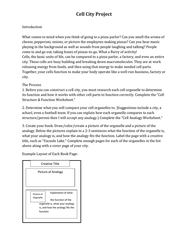 Cell City Project Rubric – Cell City Worksheet
