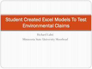 Student Created Excel Models To Test Environmental Claims