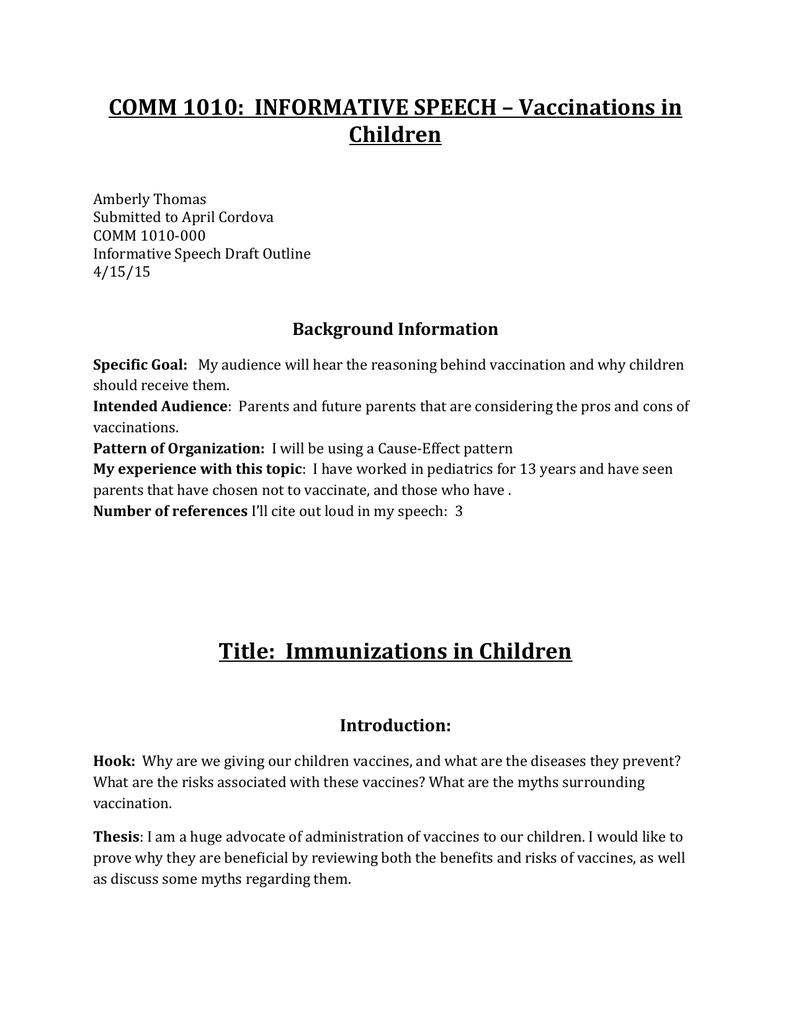 speech outline on autism