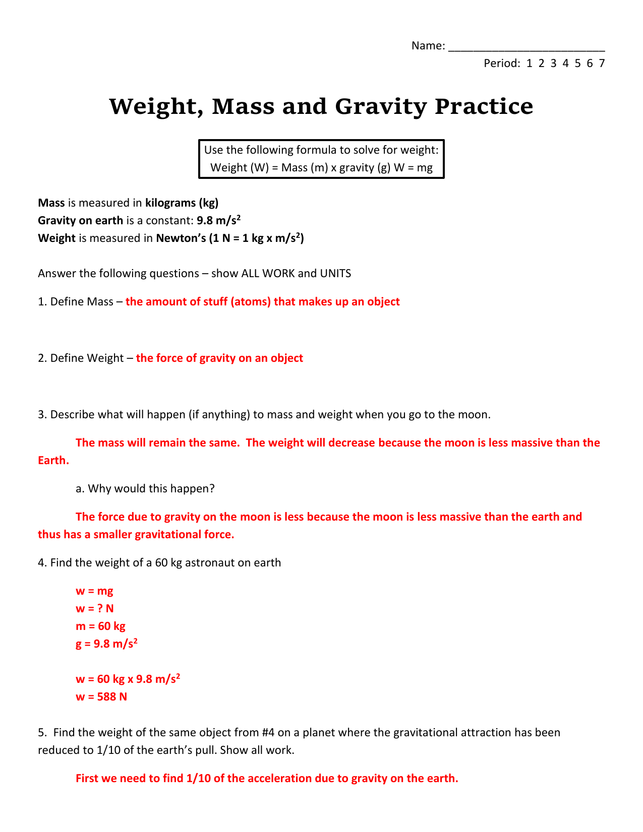worksheet Mass Vs Weight Worksheet answer