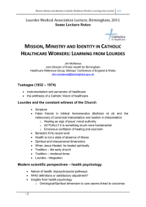 Mission, Ministry and Identity in Catholic Healthcare Workers