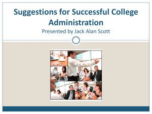 Suggestions for Successful College Administration