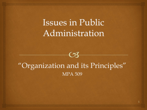 Issues in Public Administration Organization and its Principles