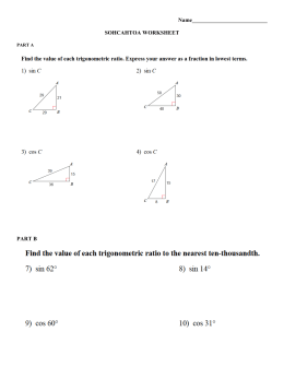 Worksheets Sine Cosine And Tangent Practice Worksheet Answers sine cosine and tangent practice name sohcahtoa