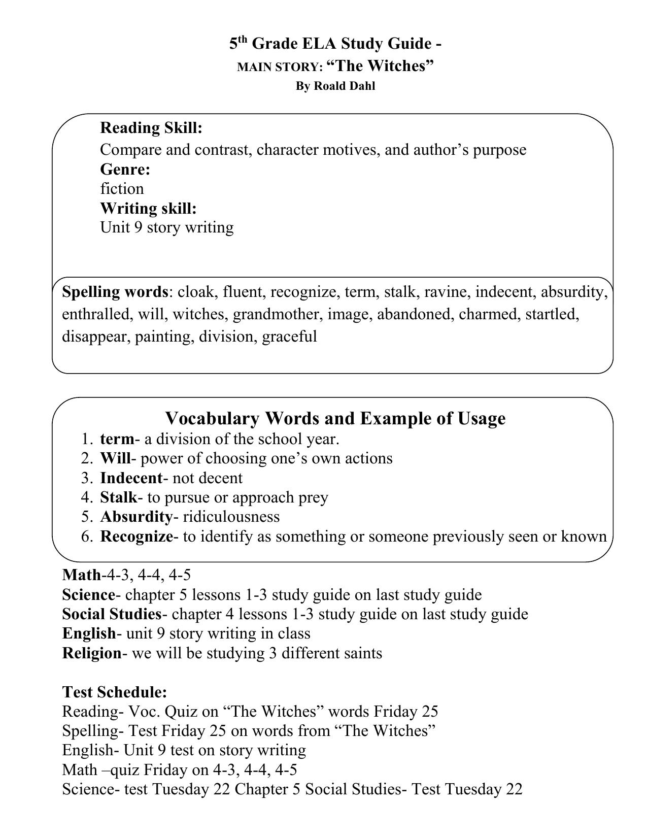 5 th Grade ELA Study Guide