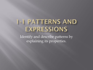 1-1 Patterns and Expressions