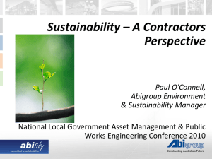 Sustainability a contractors perspective