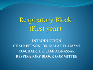 INTRODUCTION TO RESPIRTORY BLOCK