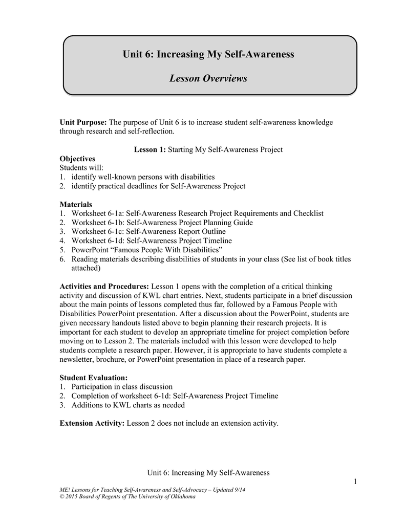 worksheet Self Awareness Worksheets unit 6 increasing my self awareness lesson