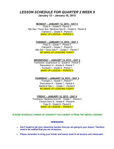LESSON SCHEDULE FOR QUARTER 2 WEEK 8 January 12