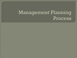 Management Planning Process