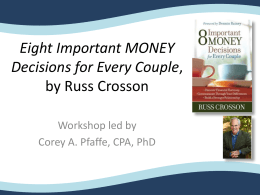 Eight Important Money Decisions for Every Couple by